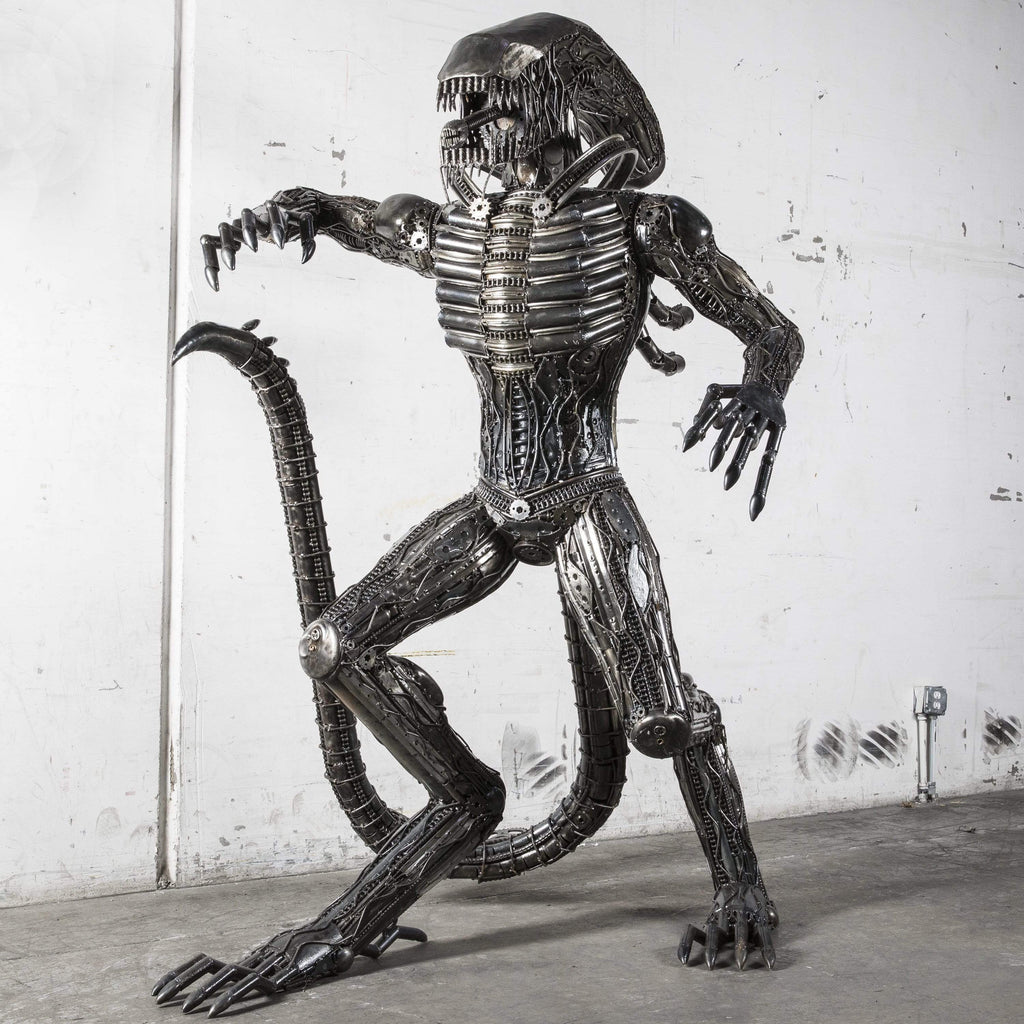 "Kalifano Recycled Metal Art 91"" Alien Inspired Recycled Metal Art Sculpture RMS-A230-Y01"