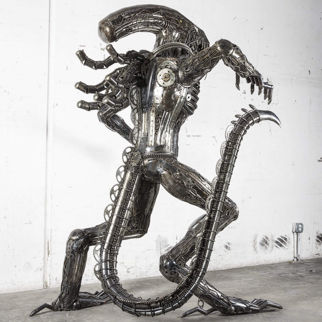 "91"" Alien Inspired Recycled Metal Art Sculpture"