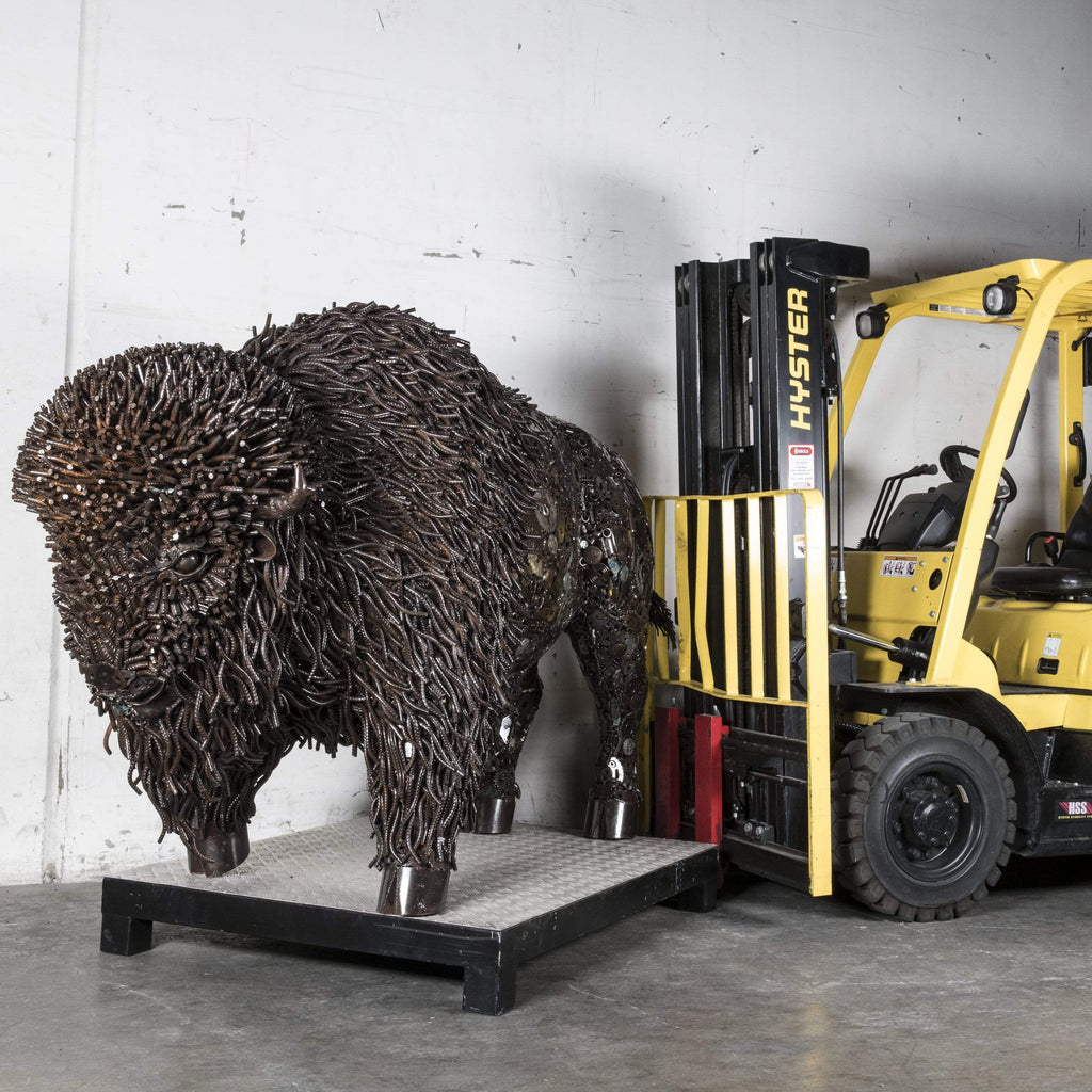 "63"" Bison Recycled Metal Art Sculpture"