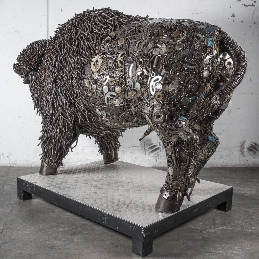 Kalifano Recycled Metal Art Bison Recycled Metal Art Sculpture RMS-BIS160-P01
