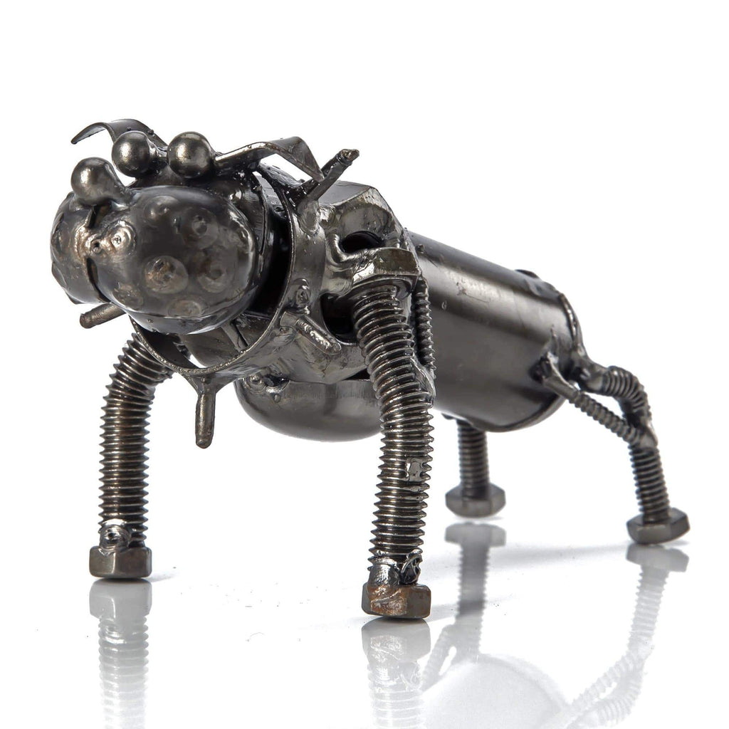 Kalifano Recycled Metal Art Bull Dog Inspired Recycled Metal Sculpture RMS-150DOG-N