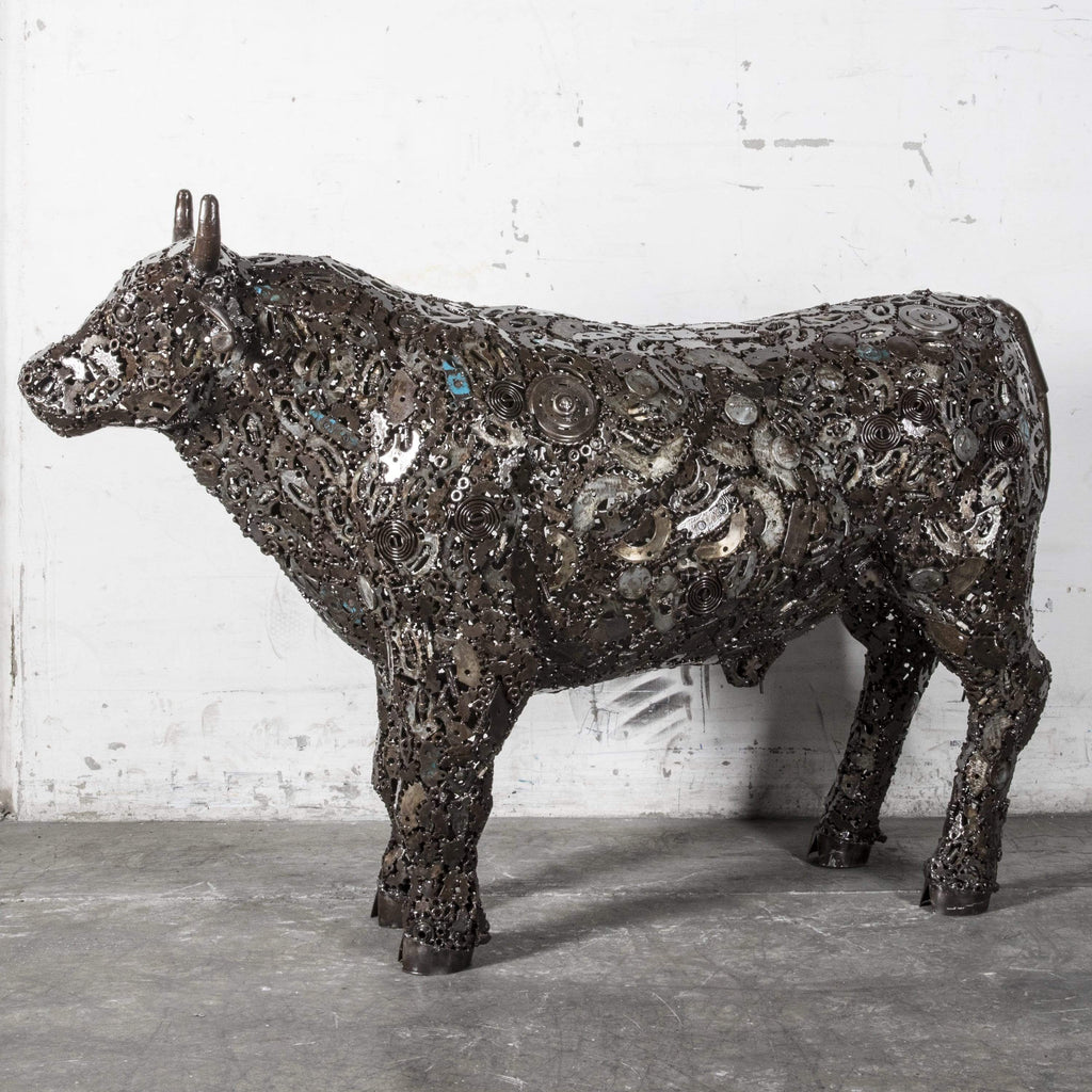 Kalifano Recycled Metal Art Cow Recycled Metal Art Sculpture RMS-COW120-P01