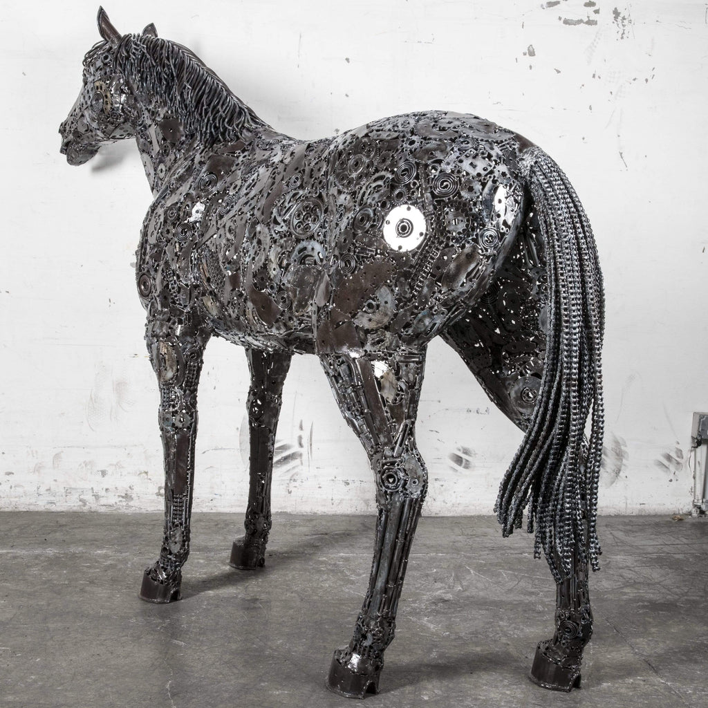 Kalifano Recycled Metal Art Horse Recycled Metal Art Sculpture RMS-HS190-P01