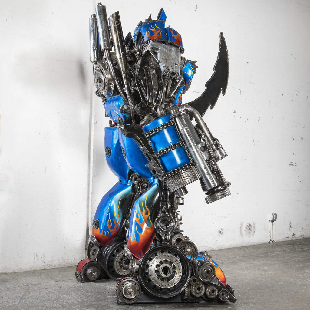 Kalifano Recycled Metal Art Optimus Prime Inspired with Gun & Sword One of a Kind Recycled Metal Art Sculpture RMS-OP260-S02