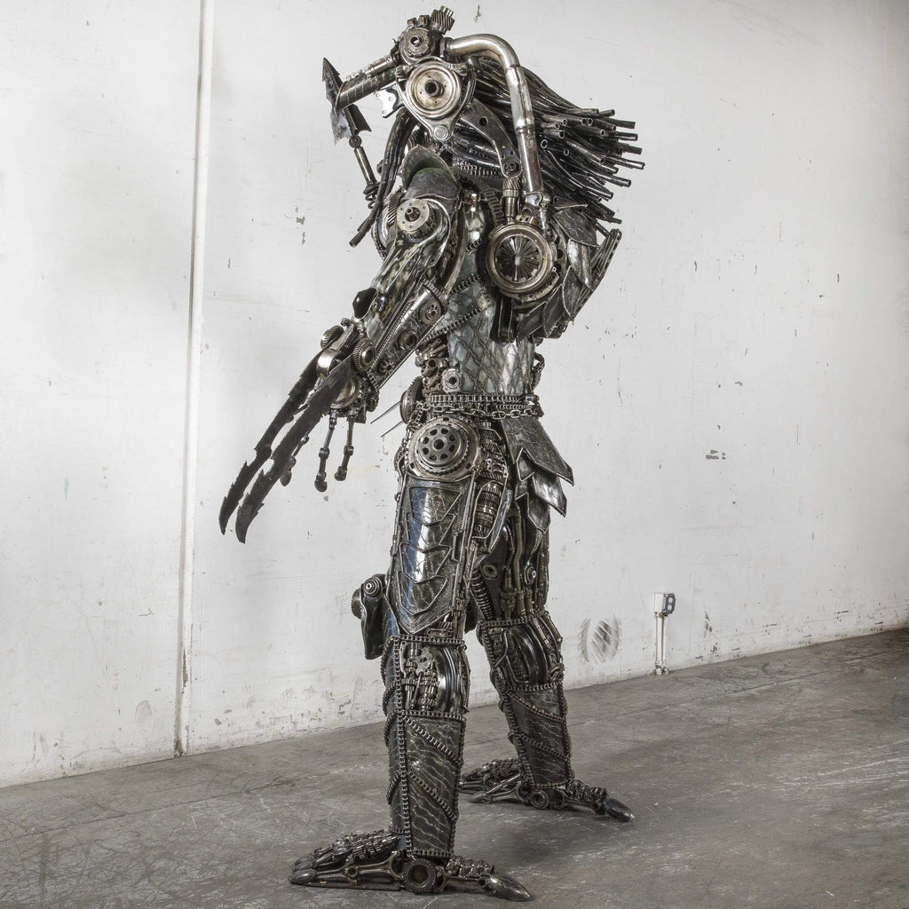 Kalifano Recycled Metal Art Predator with Spear Inspired Recycled Metal Art Sculpture RMS-PSP260-S02
