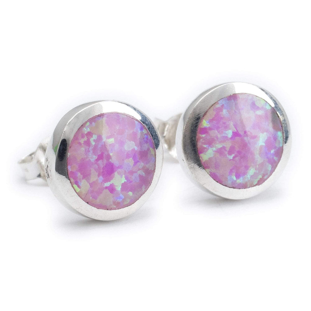 Kalifano Southwest Silver Jewelry Pink Opal Circle 925 Sterling Silver Earring with Stud Backing Handmade NME.0027.PO