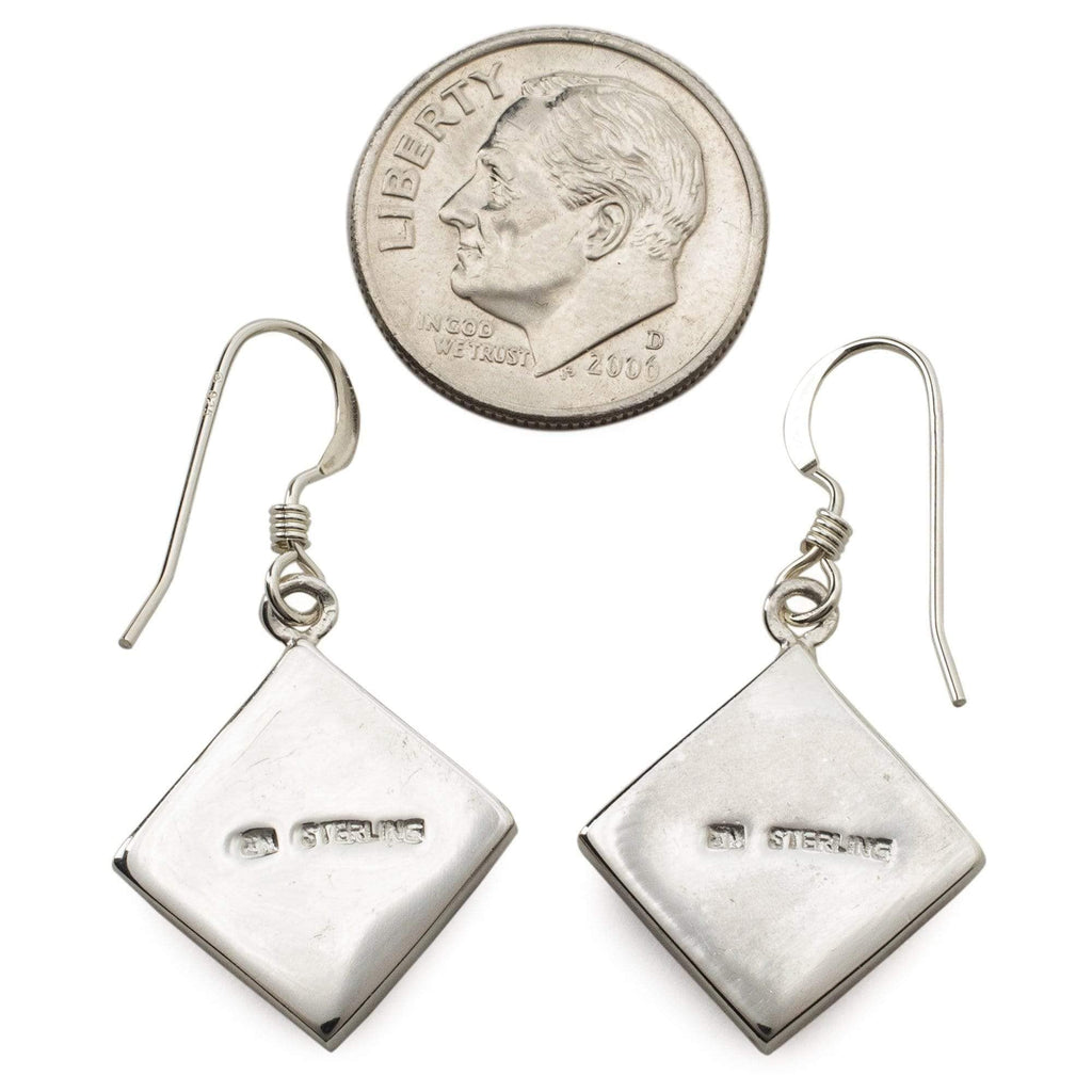 Kalifano Southwest Silver Jewelry Spiny Oyster Shell Square 925 Sterling Silver Earring with French Hook USA Handmade with Opal Accent NME.2016.SP