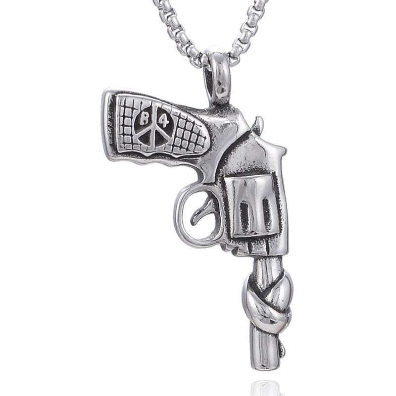 Kalifano Steel Hearts Jewelry Steel Hearts Gun Protest Necklace SHN120-41