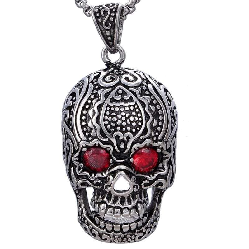 Kalifano Steel Hearts Jewelry Steel Hearts Ornate Skull with Red Crystal Necklace SHN200-09