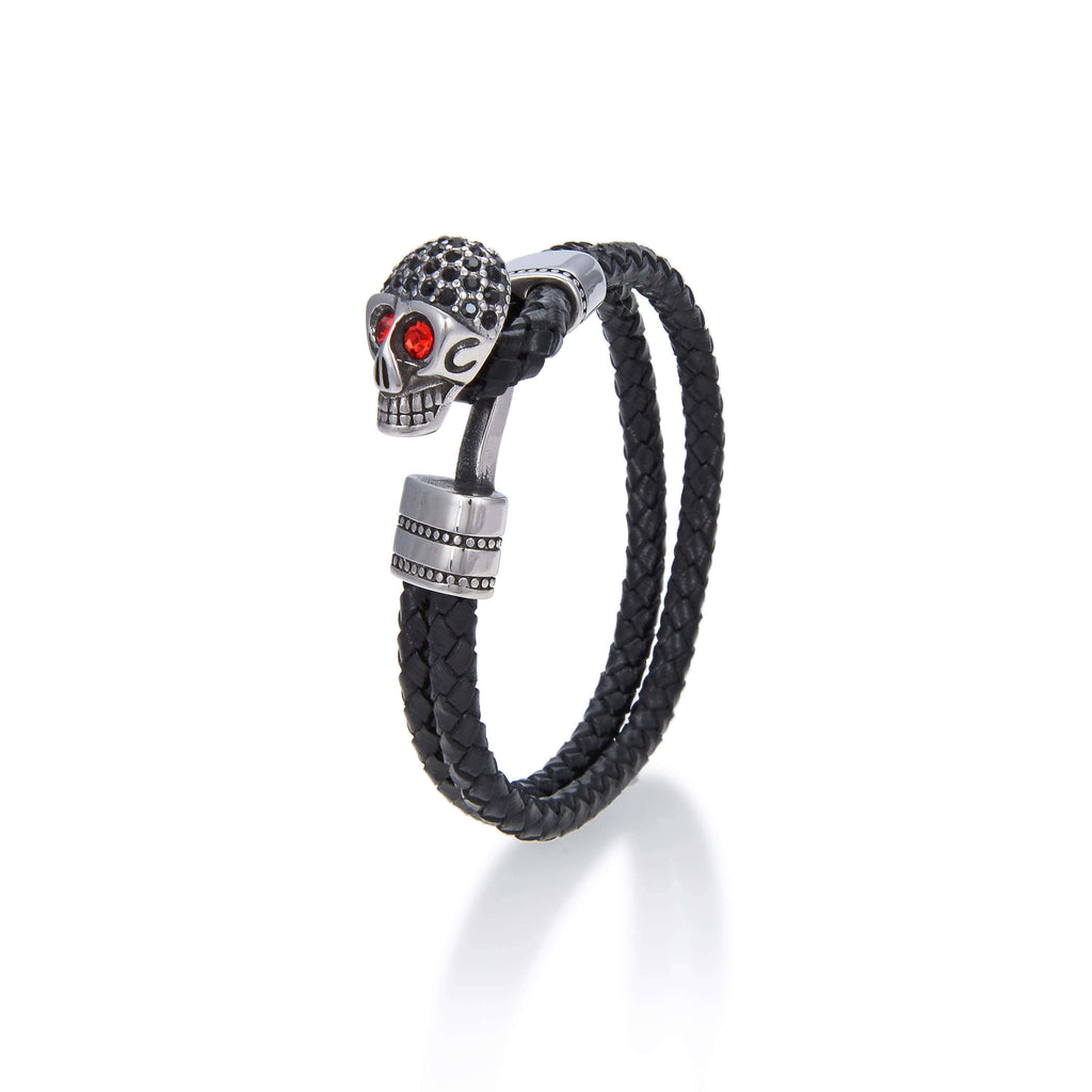 Kalifano Steel Hearts Jewelry Steel Hearts Red Diamond-Studded Skull With Hook Clasp Black Leather Bracelet SHB200-93