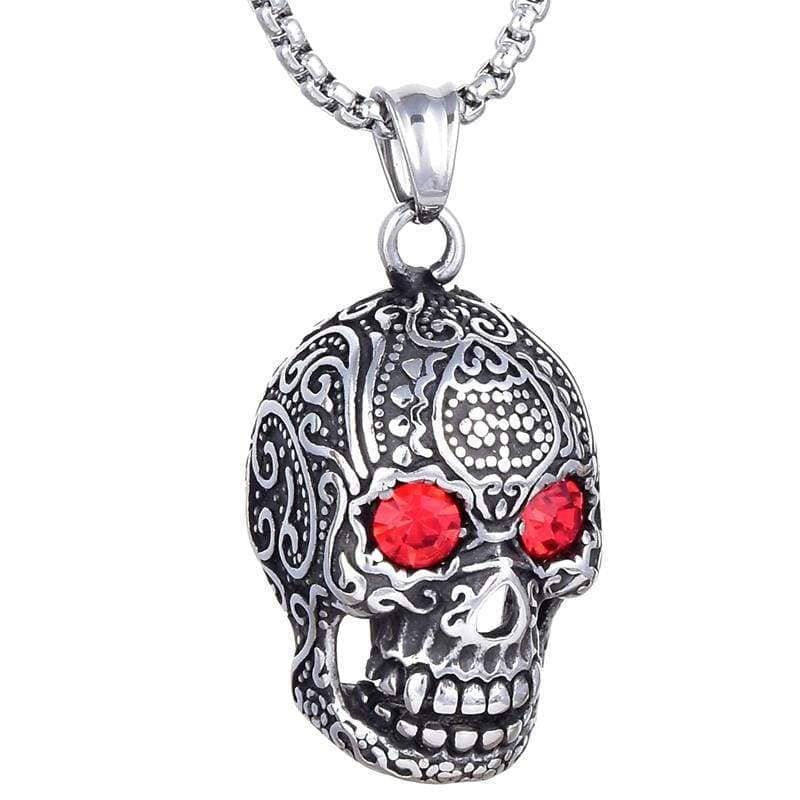 Kalifano Steel Hearts Jewelry Steel Hearts Skull with Red Eyes Gemstone Necklace SHN120-21
