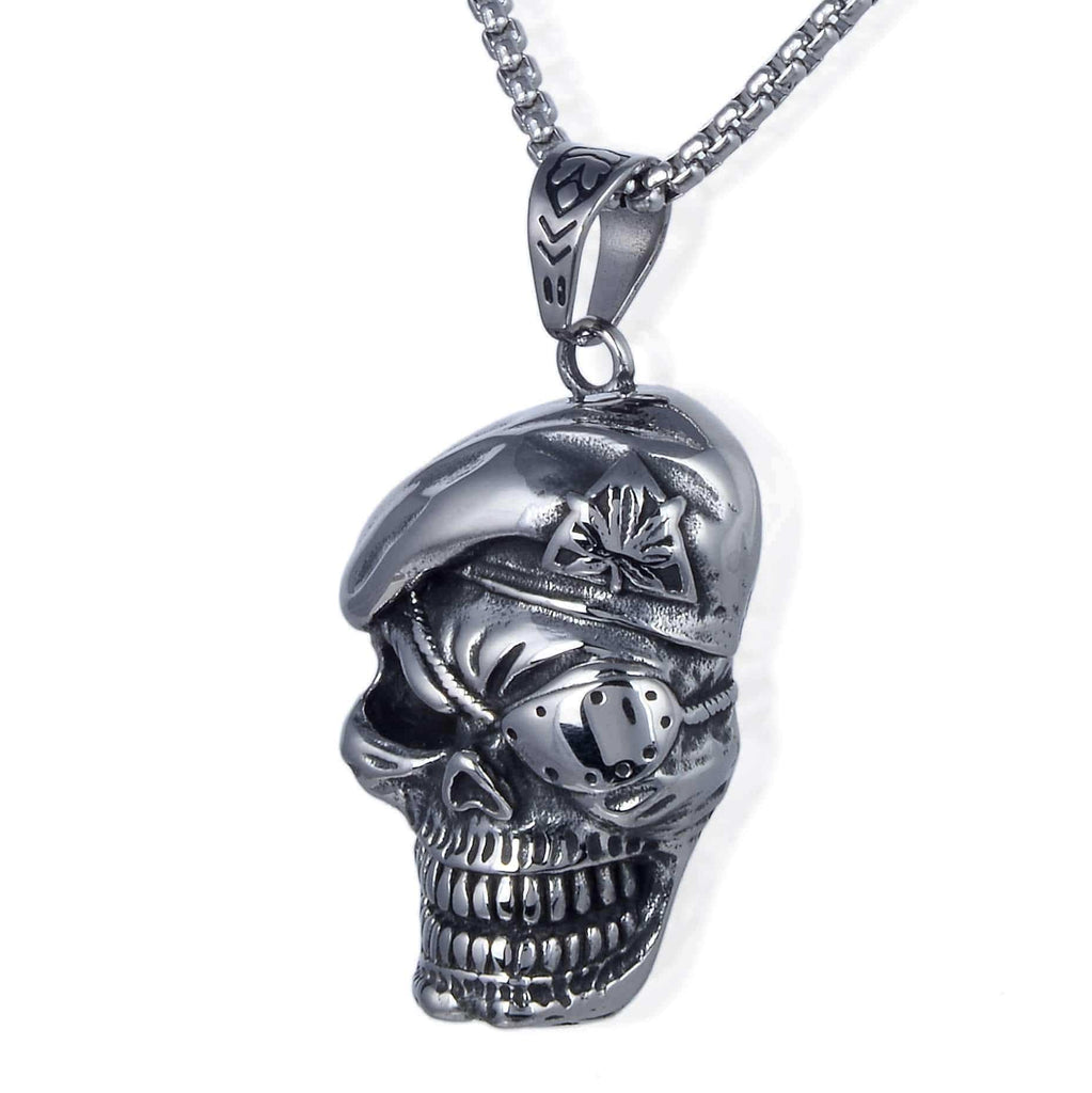 Kalifano Steel Hearts Jewelry teel Hearts Skull with Beret and Eyepatch Necklace SHN120-80
