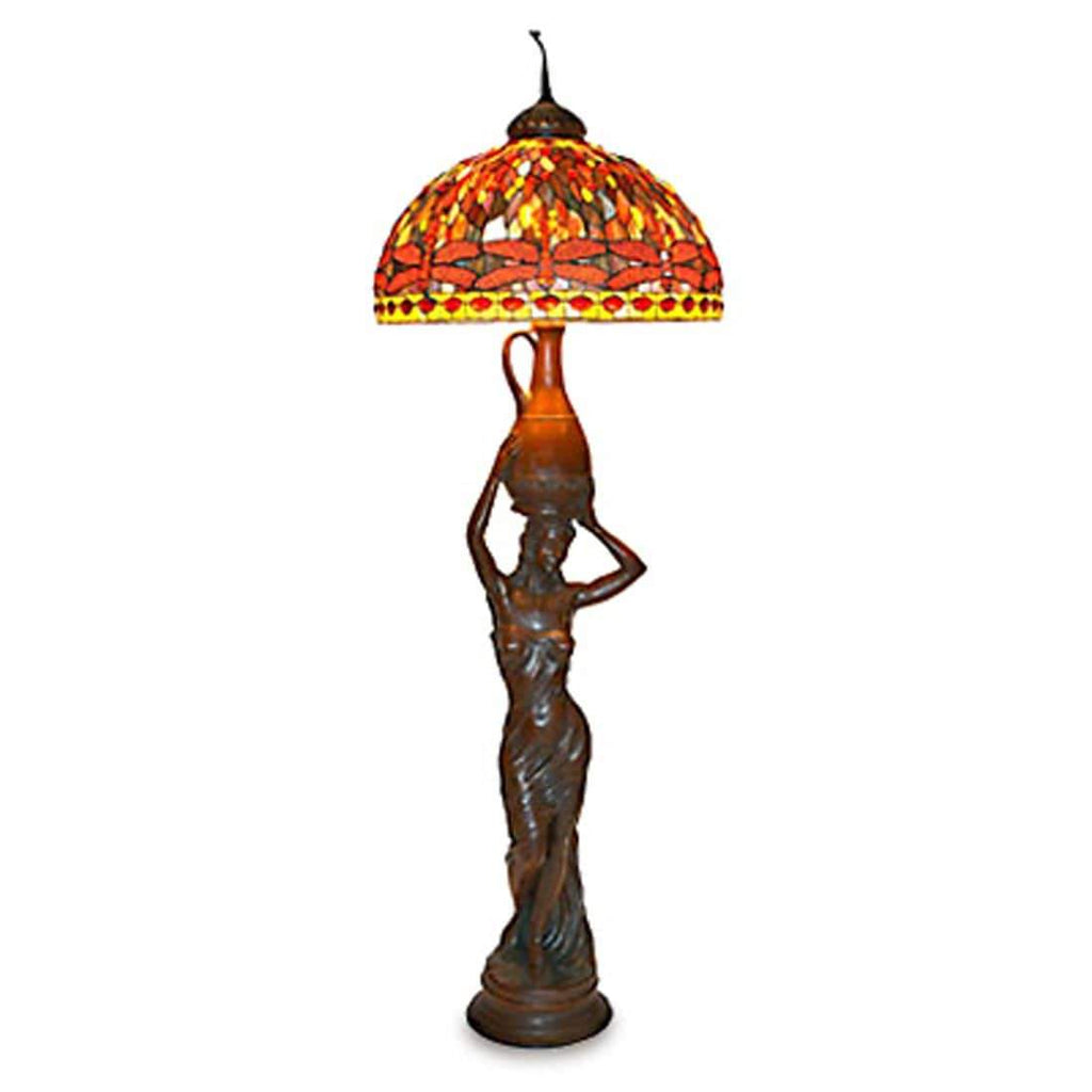 "Kalifano Tiffany Lamps A3-200R - 75"" Lady Holding A Jar Lamp with 26"" Red Dragonfly Shade A3-200R"