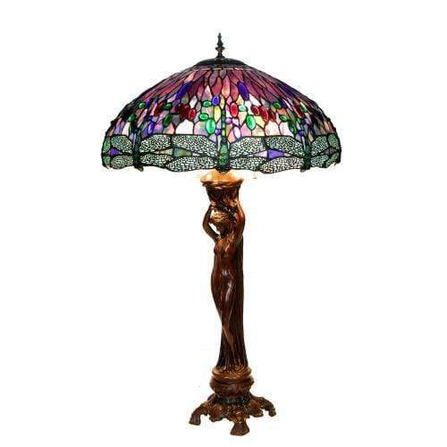 "Kalifano Tiffany Lamps A3-619P - 35"" Nude Lady Lamp with 22"" Purple Dragonfly Shade A3-619P"