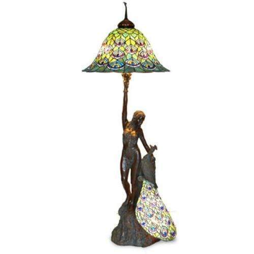 "Kalifano Tiffany Lamps A4-301LG - 73"" Green Left Handed Peacock Lady Lamp with 28"" Green Feather Shade A4-301LG"