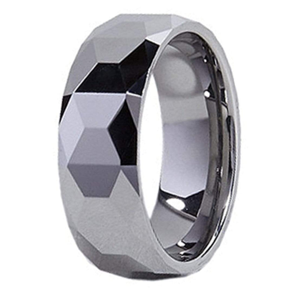 Kalifano Tungsten Rings Diamond Facet Polished Tungsten Carbide Ring