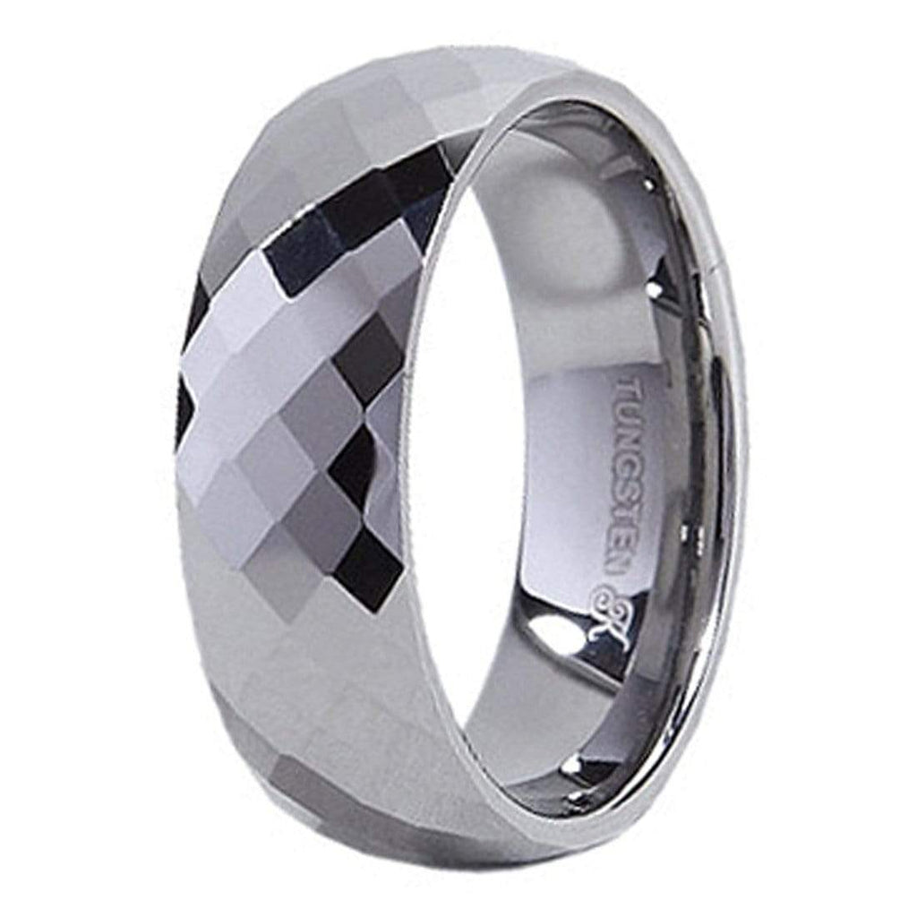 Kalifano Tungsten Rings Facted Polished Tungsten Carbide Ring