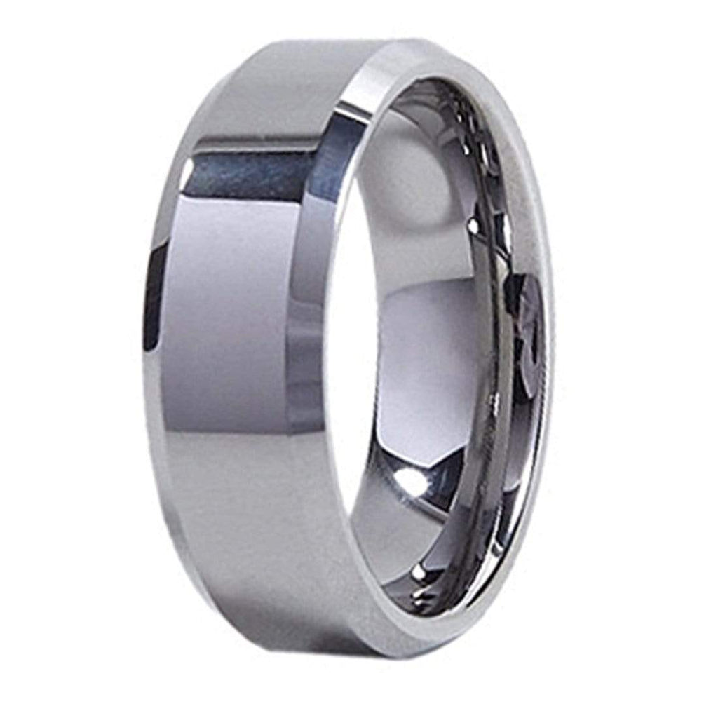 Kalifano Tungsten Rings Polished Stripe Tungsten Carbide Ring