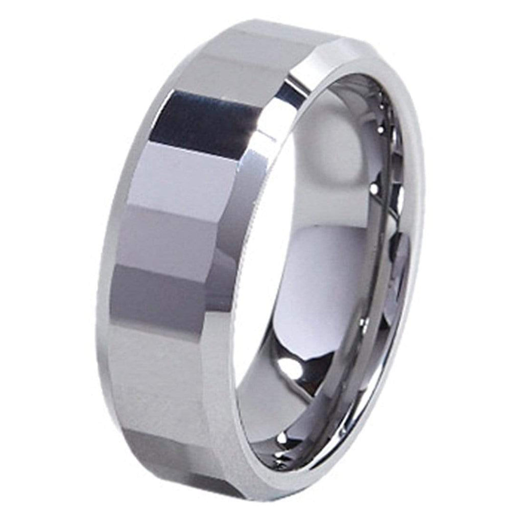 Kalifano Tungsten Rings Rectangle Facet Polished Tungsten Carbide Ring