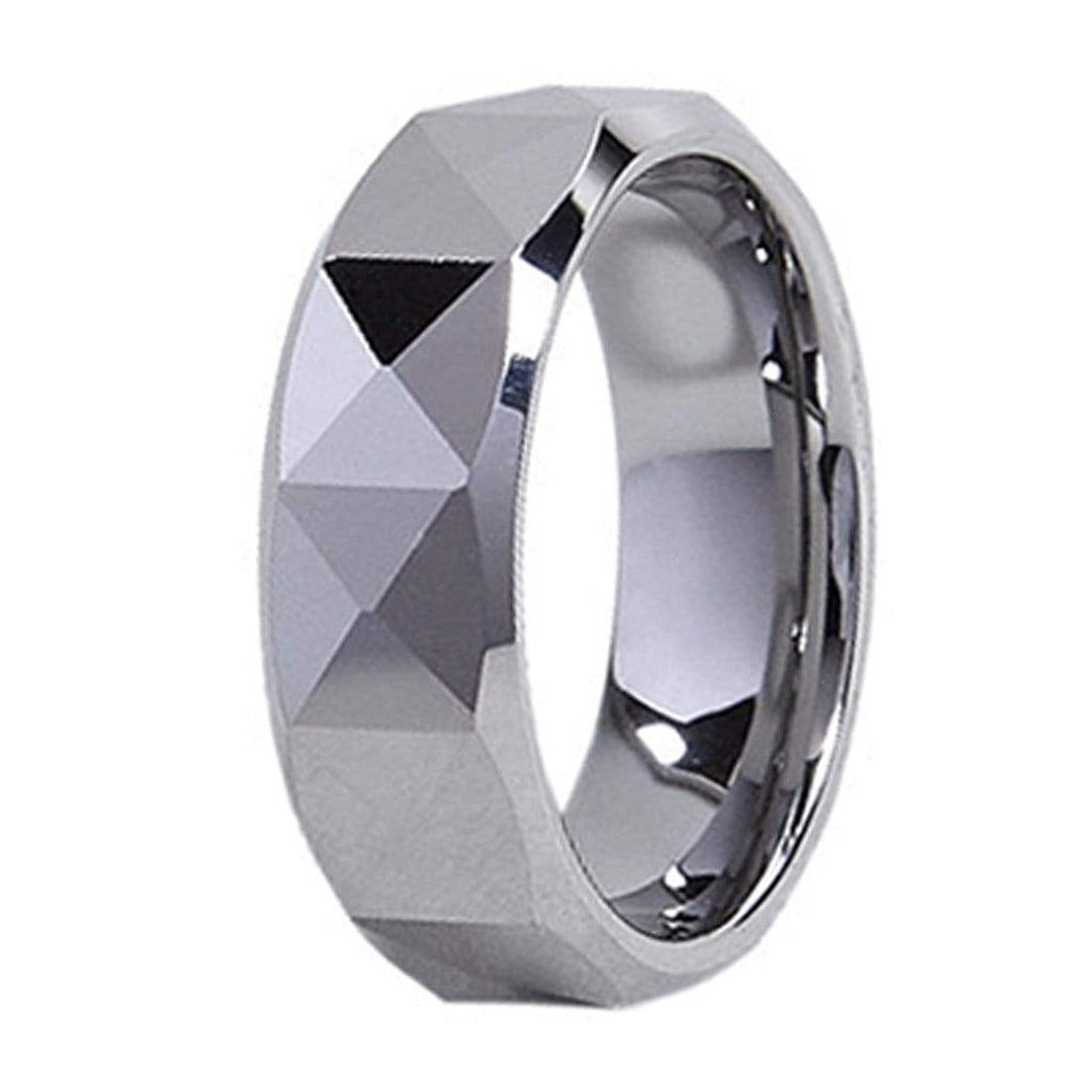 Kalifano Tungsten Rings Rounded Triangle Facet Polished Tungsten Carbide Ring