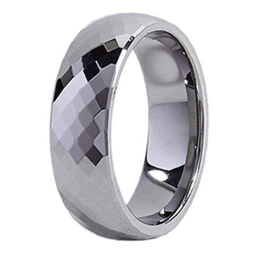 Kalifano Tungsten Rings Small Diamond Facets Polished Tungsten Carbide Ring