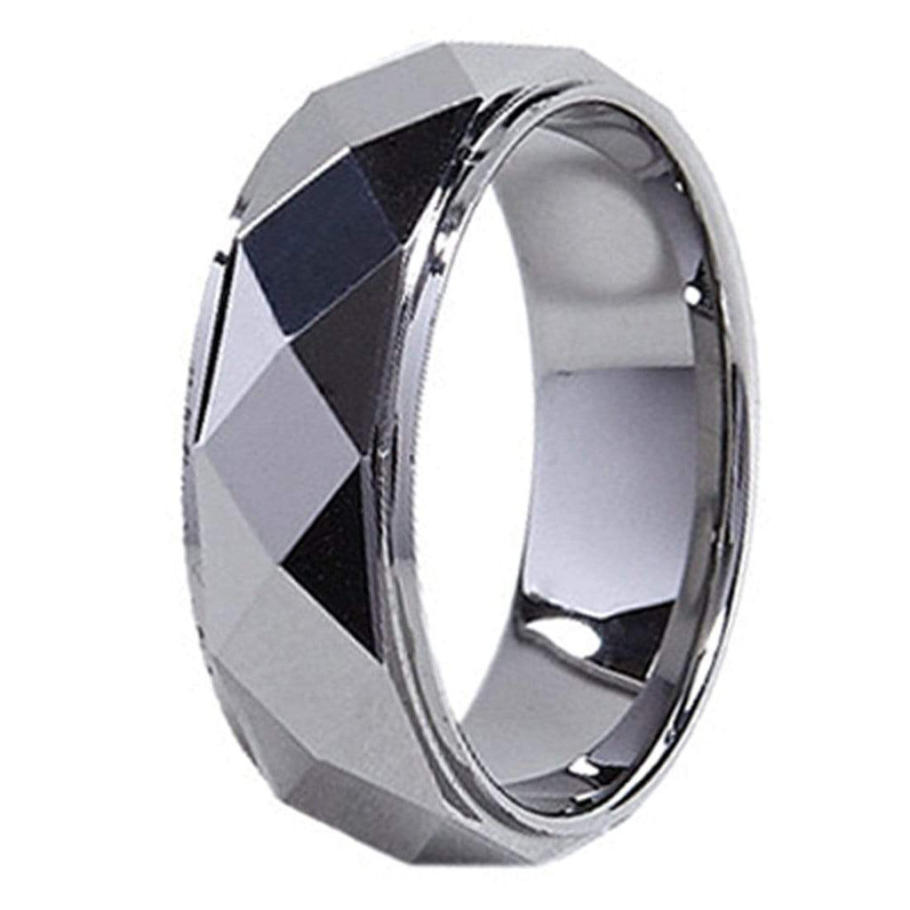 Kalifano Tungsten Rings Spinning Diamond Polished Tungsten Carbide Ring