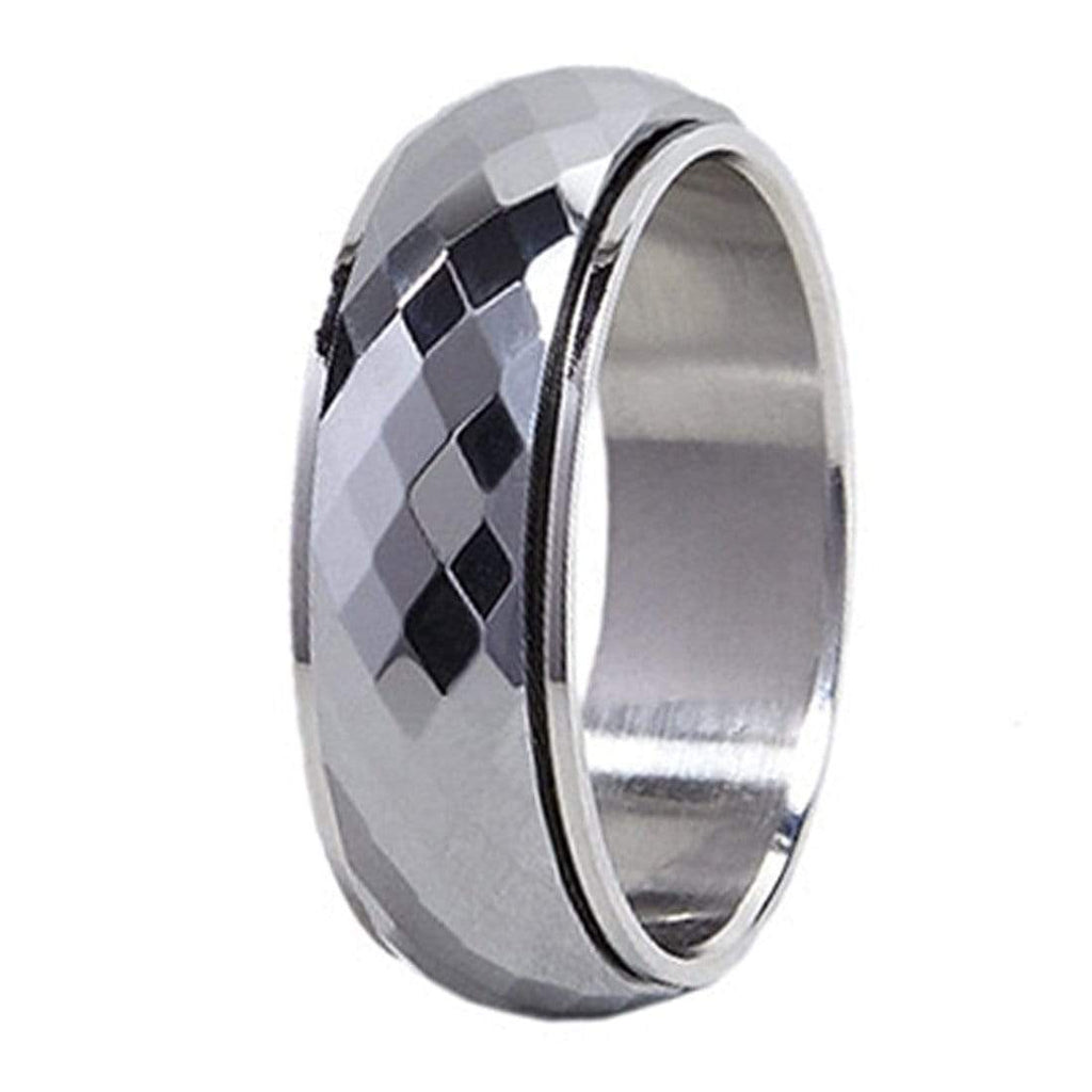Kalifano Tungsten Rings Spinning Small Diamond Facet Polished Tungsten Ring