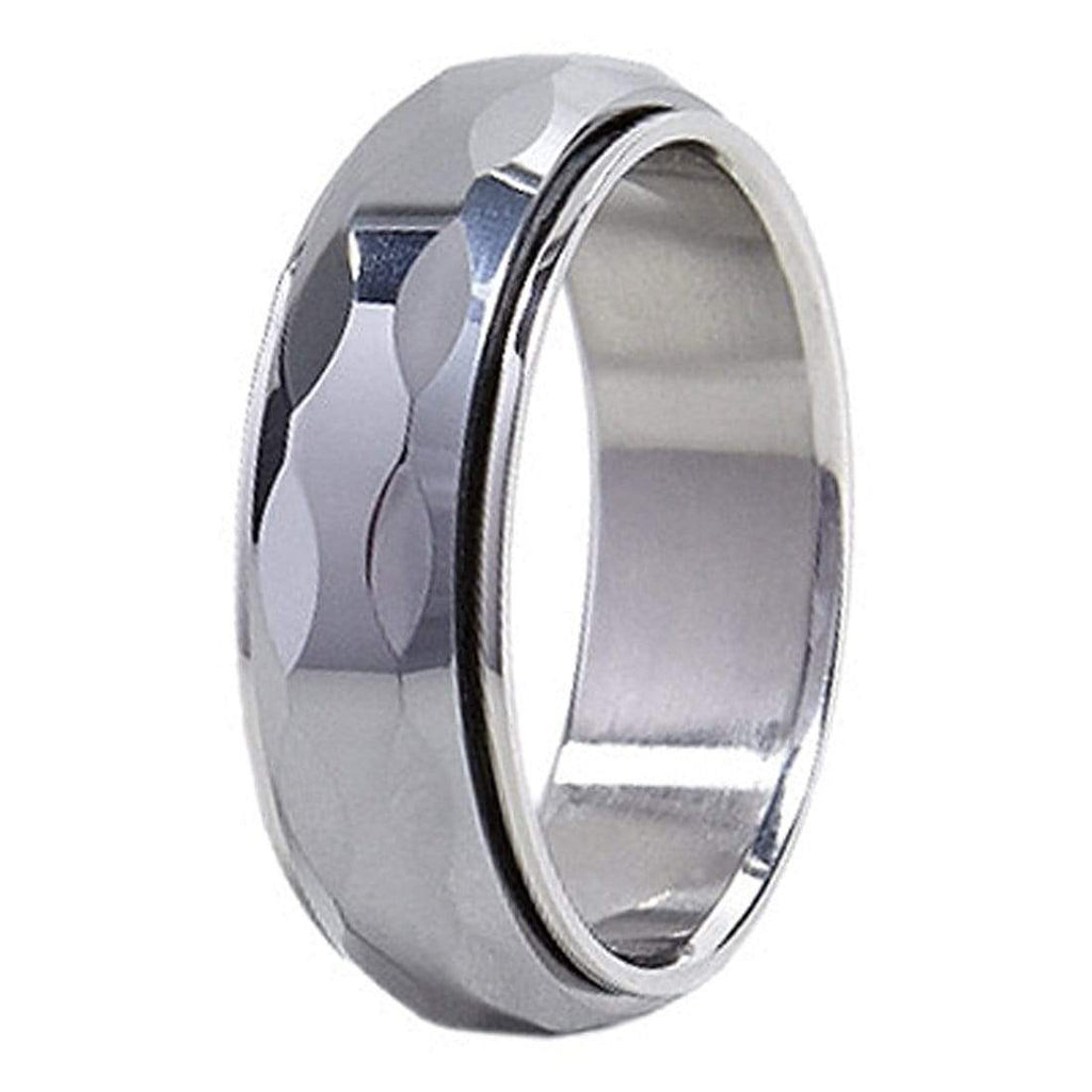 Kalifano Tungsten Rings Spinning Wave Facet Polished Tungsten Carbide Ring