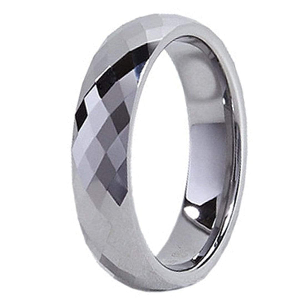 Kalifano Tungsten Rings Thin Diamond Facet Polished Tungsten Carbide Ring