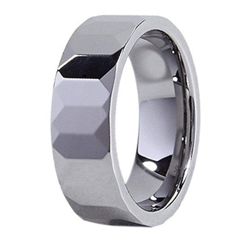 Wave Facet Polished Tungsten Carbide Ring