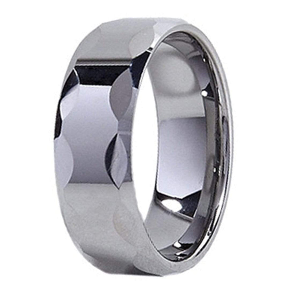Kalifano Tungsten Rings Wave Faceted Polished Tungsten Carbide Ring
