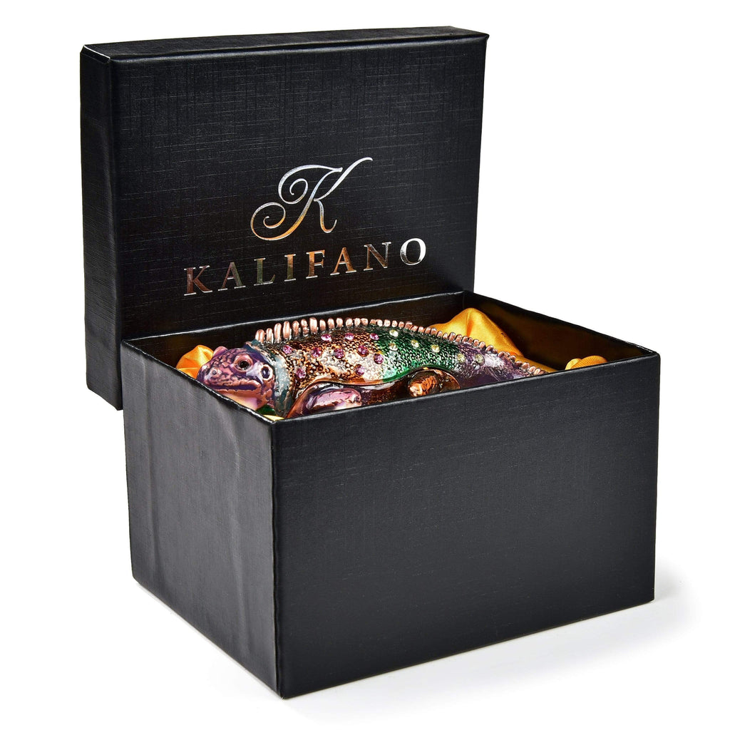 Kalifano Vanity Figurine Vanity Chameleon Figurine Keepsake Box made with Crystals SVA-051