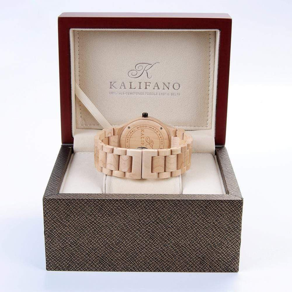 Kalifano Wood Watches Mens Explore Wood Watch made with Maple Wood WWM012-M
