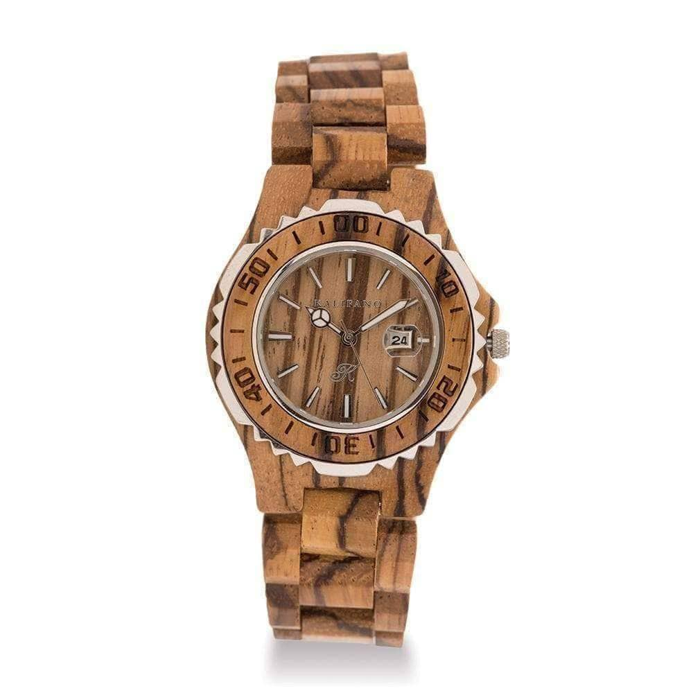Kalifano Wood Watches Womens Deluxe Wood Watch made with Zebra Wood WWL001-Z