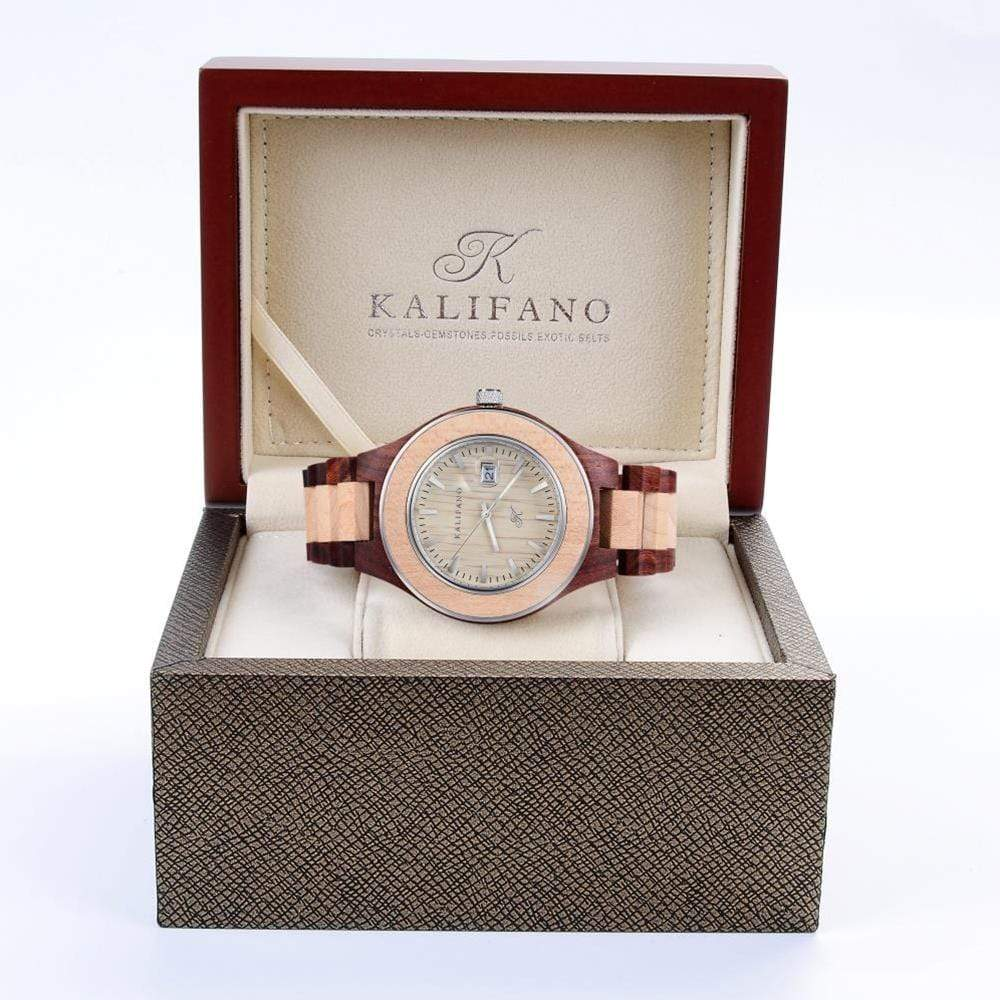Kalifano Wood Watches WWM009-RM - Wood Watch Mens Explore made with Red & Maple Wood & Bamboo Box - Japanese Miyota 2115 Movement WWM009-RM