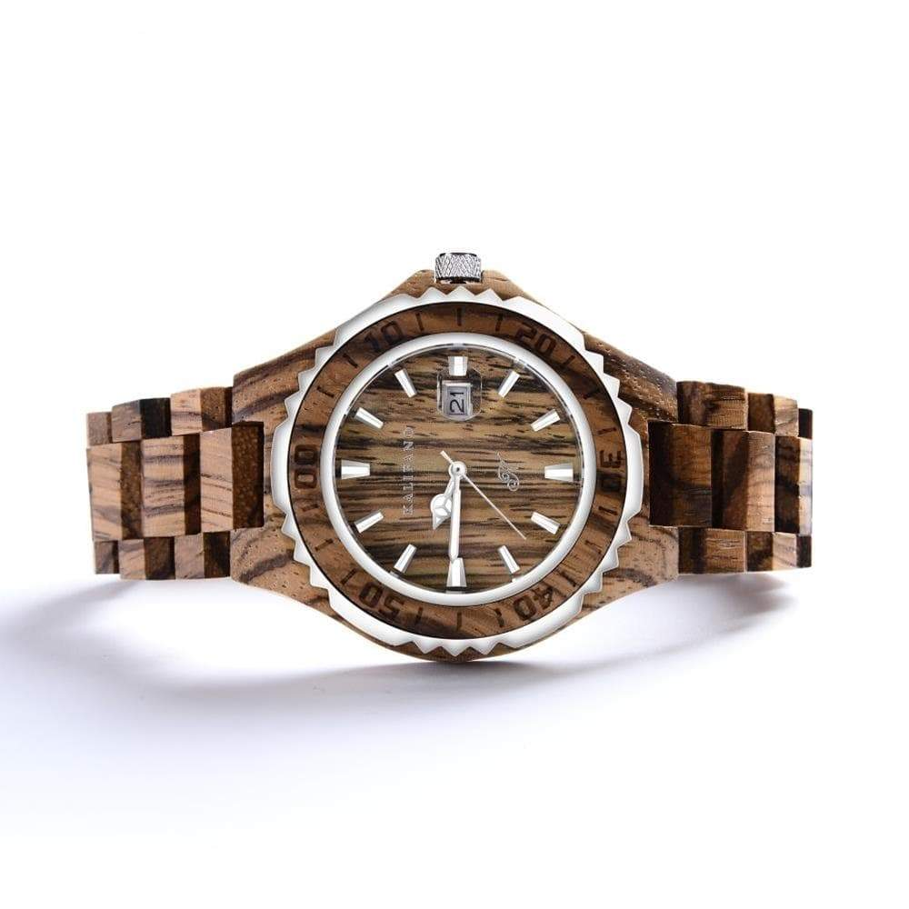 Kalifano Wood Watches WWM010-Z - Wood Watch Mens Explore made with Zebra Wood & Bamboo Box - Japanese Miyota 2115 Movement WWM010-Z