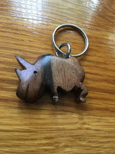 Load image into Gallery viewer, African Wooden Keychain - Rhino - Accessories