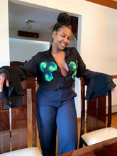 Load image into Gallery viewer, VV Chiffon Patchwork Button Down Shirt w/ Nola Green