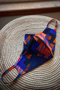 Ankara Reversible Face Mask Covering in Miami BLUE