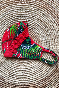 Ankara Reversible Face Mask Covering in Cali RED