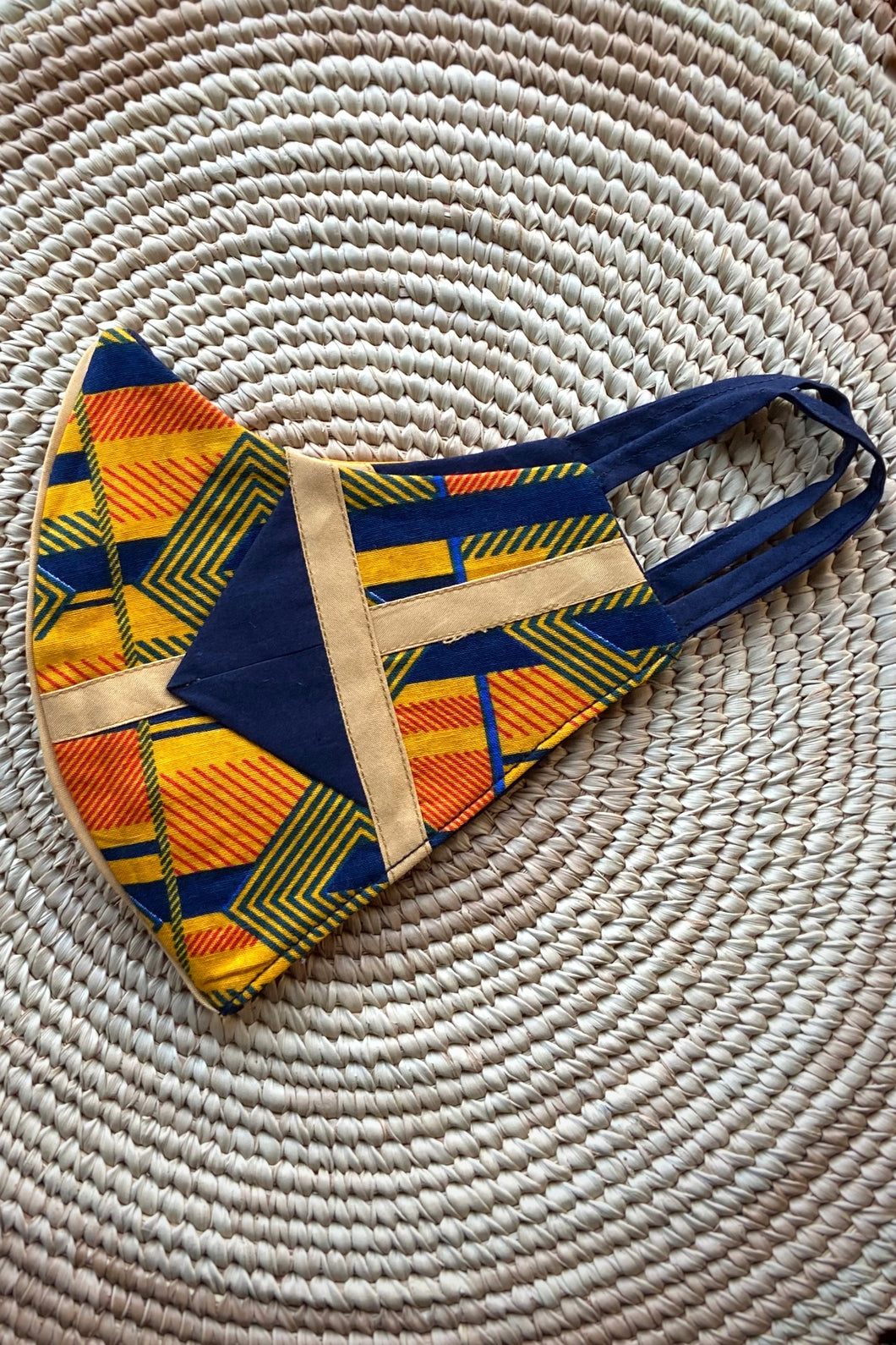 Ankara Reversible Face Mask Covering in Ejima Sunset YELLOW