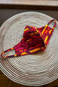 Ankara Reversible Face Mask Covering in Ejima Fire RED