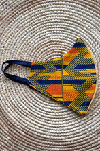 Load image into Gallery viewer, Ankara Reversible Face Mask Covering in Ejima Sunset YELLOW