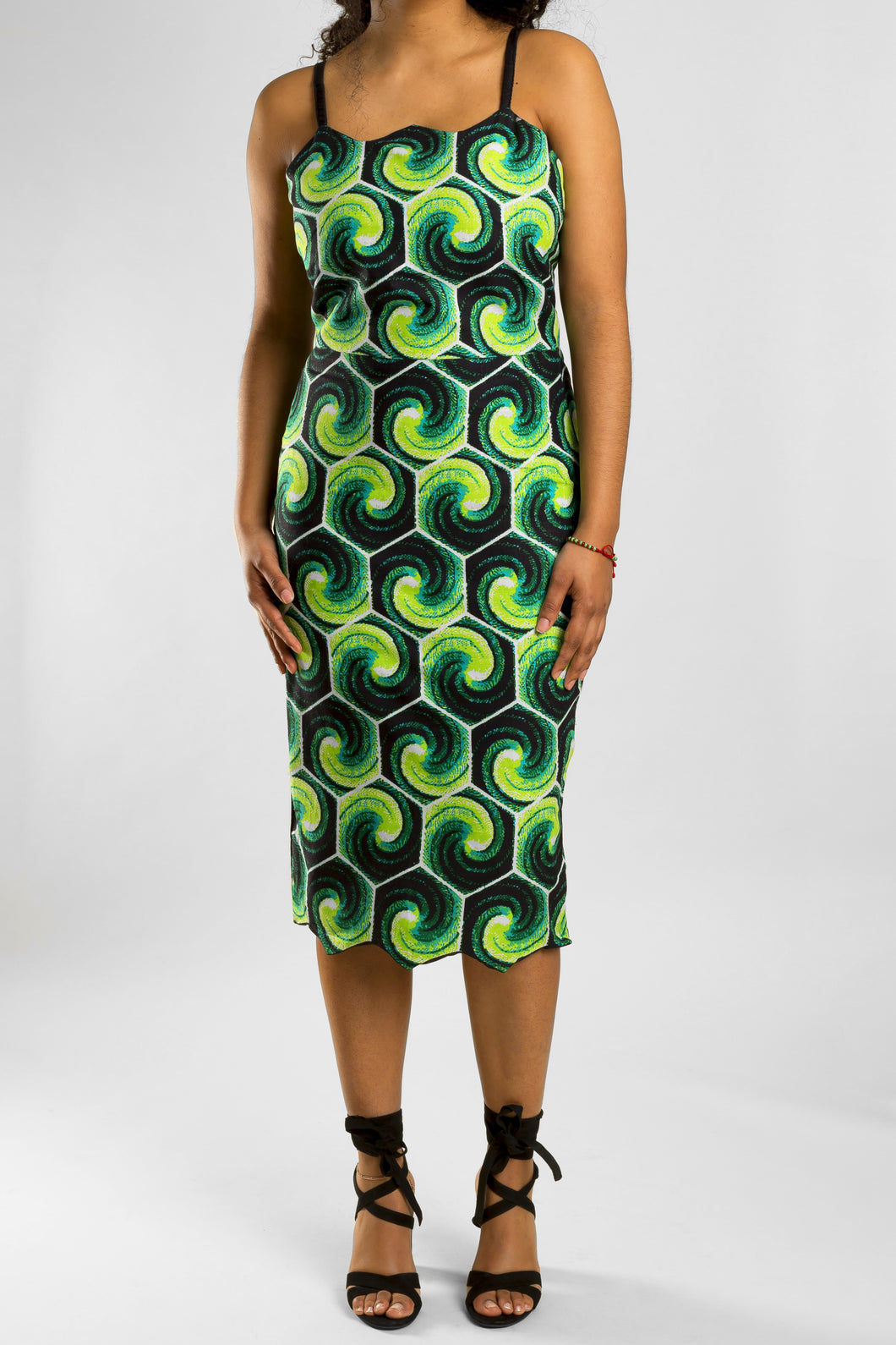 VV Patterned Pencil Dress in Nola Green