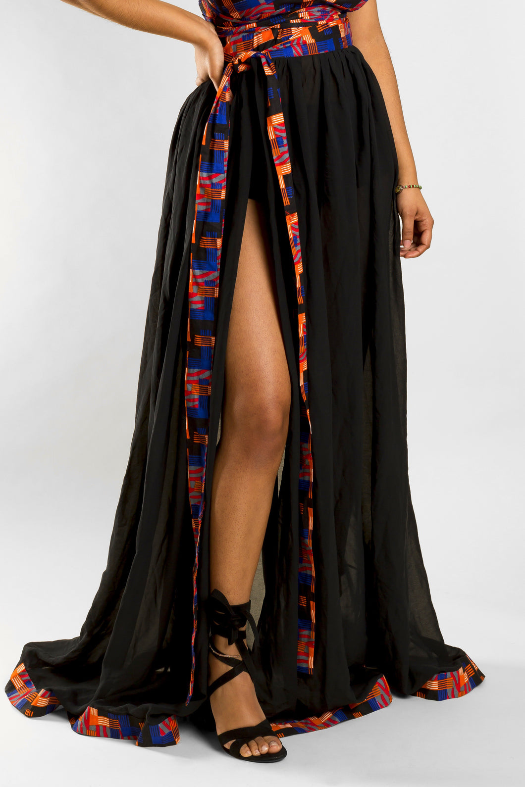 VV Black Chiffon Tie Cover Up w/ Miami Blue