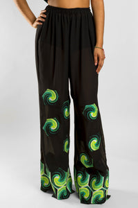 VV Patchwork Chiffon Cover Up Pants w/ Nola Green