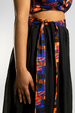 Load image into Gallery viewer, VV Black Chiffon Tie Cover Up w/ Miami Blue