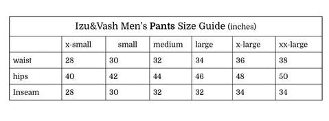 izuandvash men pants size guide