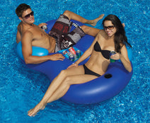 Couple enjoying refreshing beverages in their Double Tube Cooler Float