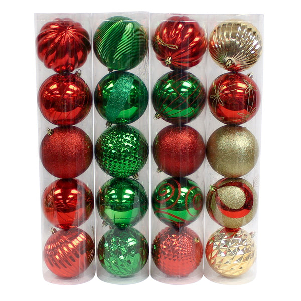 5 Pack Red, Green & Gold Shatter Proof Balls